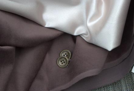 Velveteen, satin, buttons