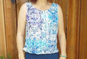 This is my second Sorbetto Top made from a remnant of embroidered crinkle cotton