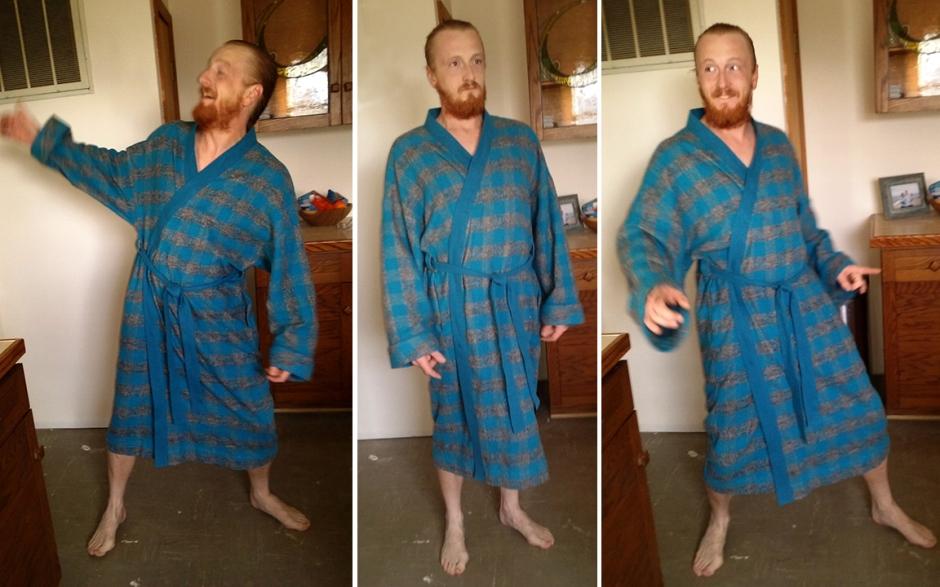 happy bathrobe