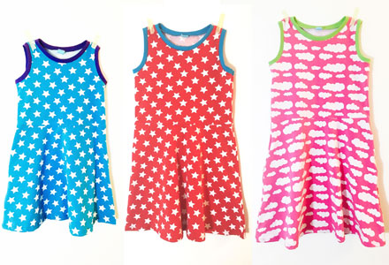 Three Little Girl's Skater Dresses as sewn by The Finished Garment
