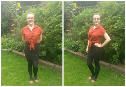 Penny dress by Sew Over It hacked into a tie front blouse by hshahndcrafts
